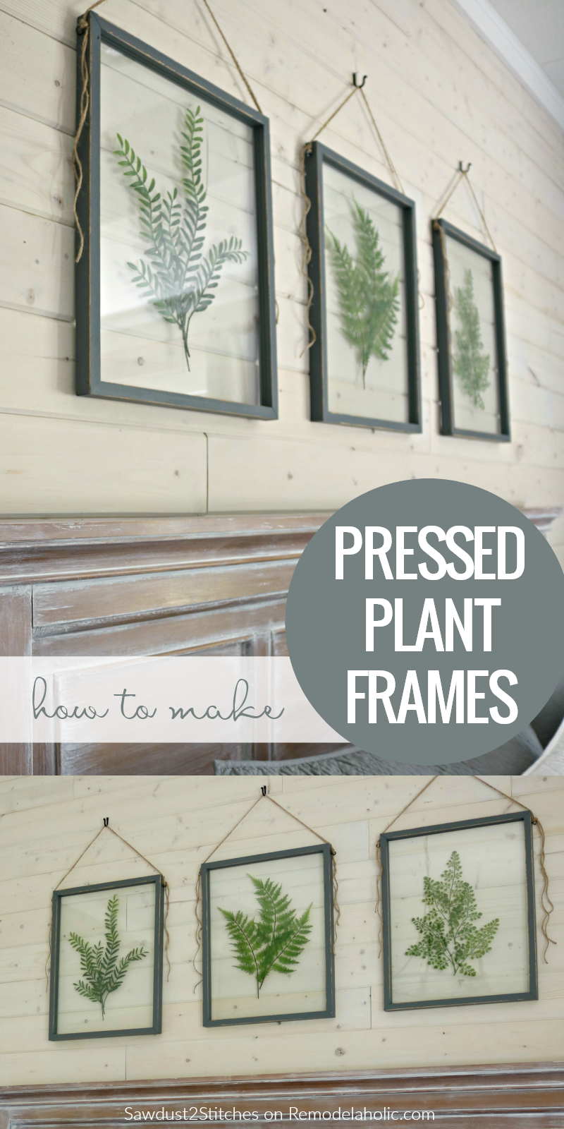 How To Make Your Own DIY Pressed Plant Frame | Build a DIY pressed plant frame using faux greenery and affordable glass for a gorgeous wall art display that will fit any style, farmhouse to modern. Full tutorial on Remodelaholic.com. #DIY #HomeDecor #kitchendecor #roomdecor