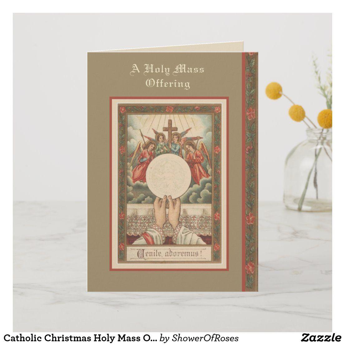 Catholic christmas holy mass offering holiday card