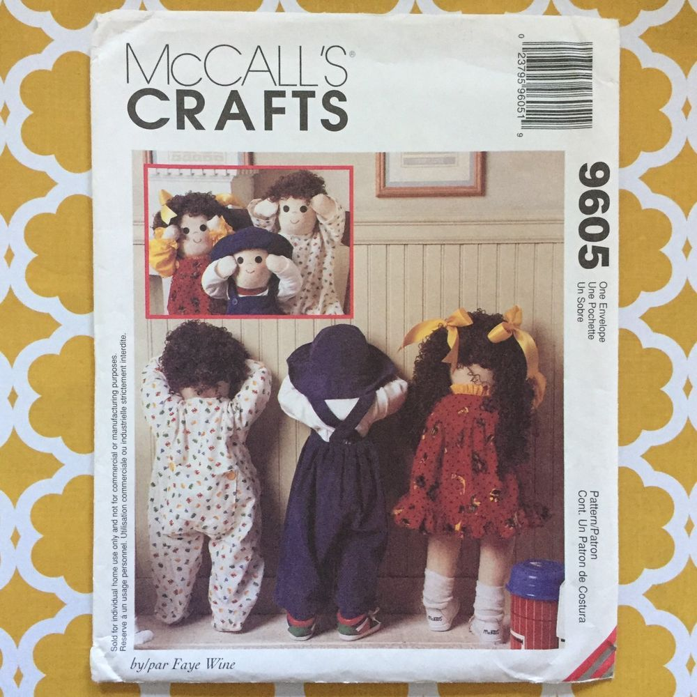 """Uncut McCalls 9605 Pattern 25"""" Toddler Doll With Clothes Quiet Time Out Crafts #McCalls"""