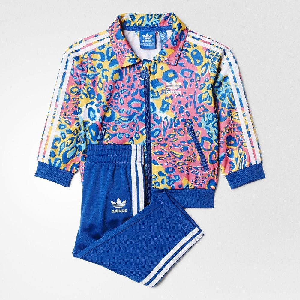 Adidas Originals Baby Girls Trefoil Print Tracksuit 9 12months In Clothes Shoes