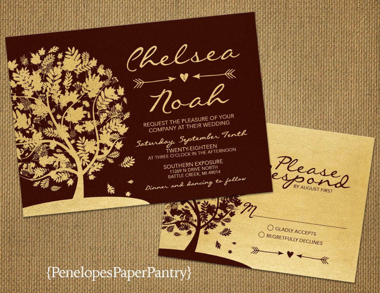 Burgundy And Gold Fall Wedding Invitationelegantoak Treefall Leavesarrow: Tree Wedding Invitations Arrow At Reisefeber.org
