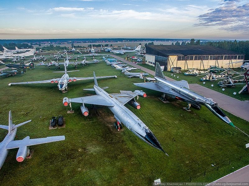 Russian air planes Monino museum from birds eye view