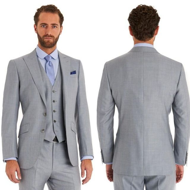 Click to Buy << High Quality Two Button Light Grey Groom Tuxedos ...