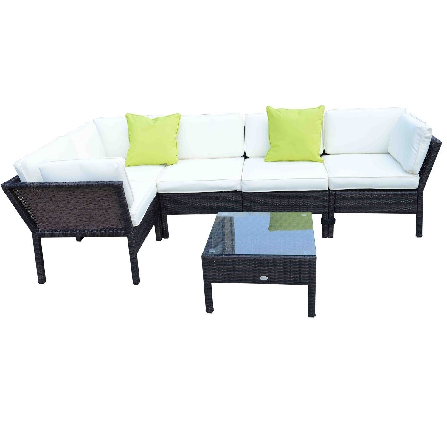 Furniture Outsunny Rattan Corner Sofa Side Table Set With