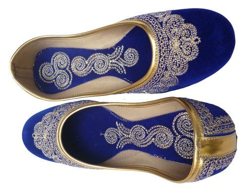 0724d08069272 Details about Bridal Shoe Women Jooti Blue Velvet Mojari Peacock ...