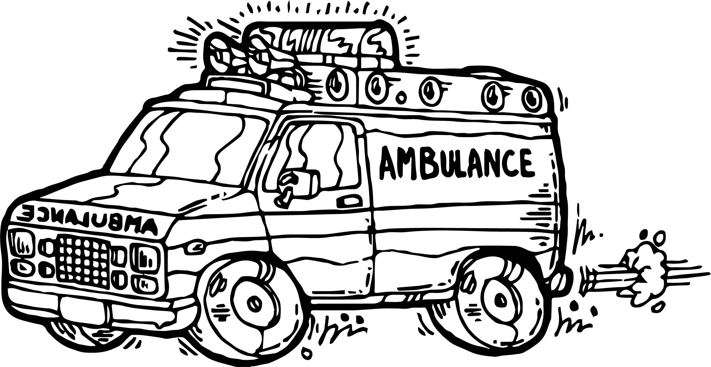 Awesome Cartoon Ambulance Coloring Page Monster Truck Coloring Pages Bear Coloring Pages Disney Coloring Pages