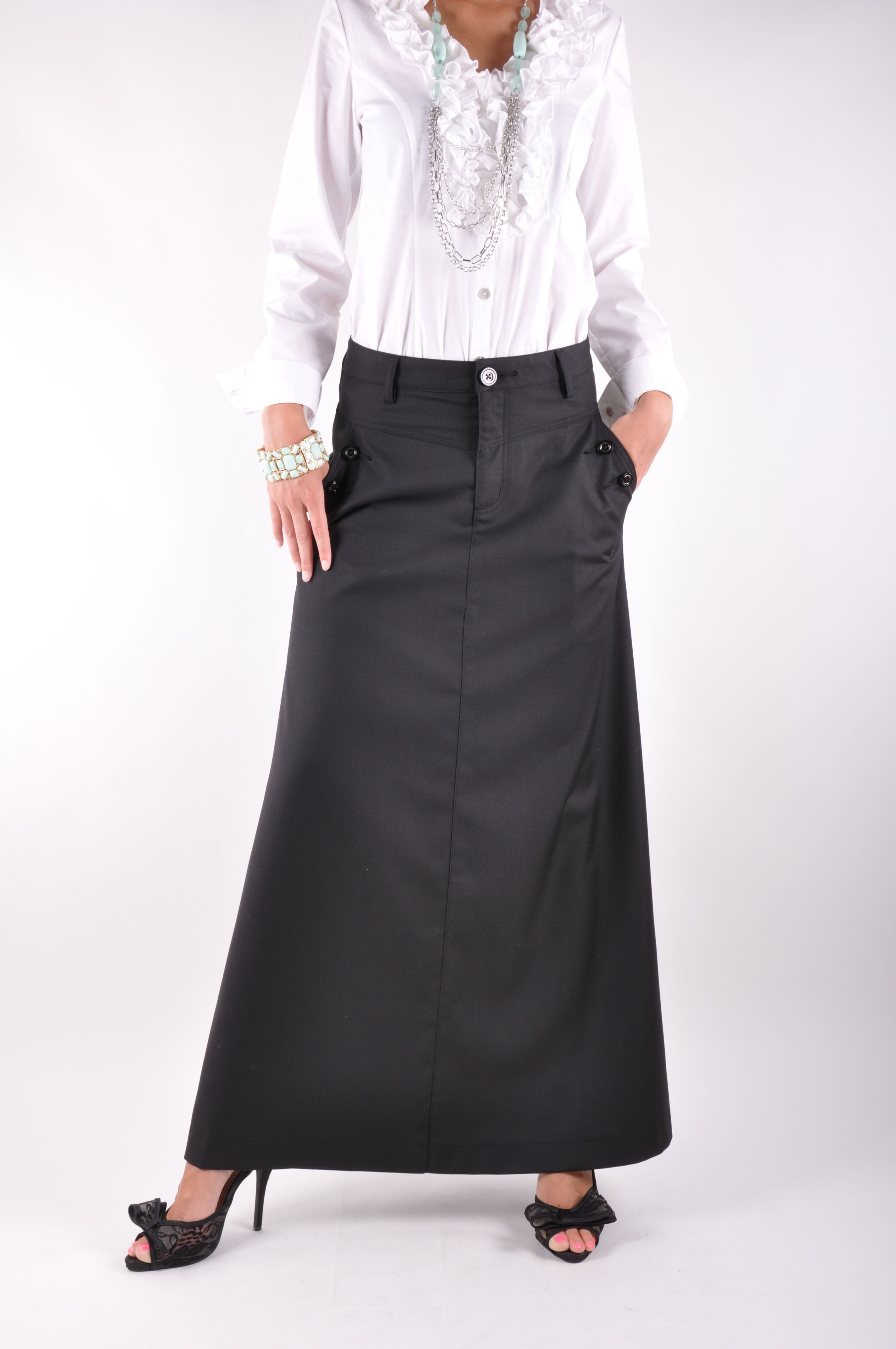 95da62e298 Just Chic Black Long Skirt | Office Skirts | Skirt fashion, Long ...