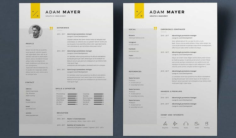 Resume Adam in 2020 Indesign resume template, Cv