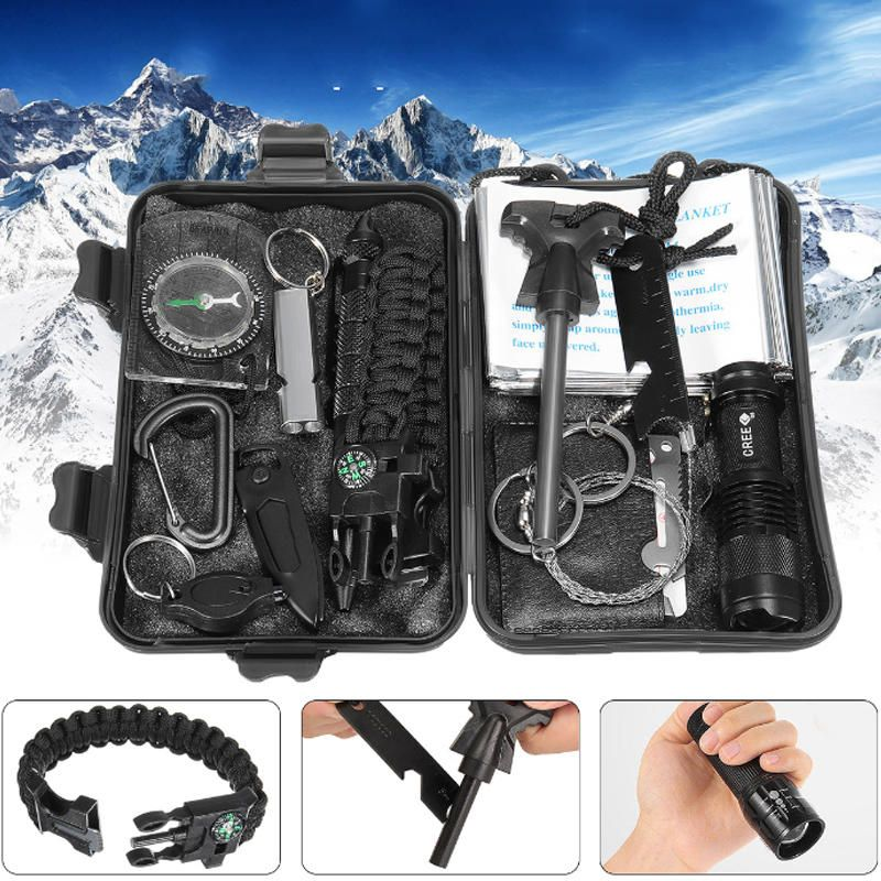 Survival Emergency Camping Tool Kit Multi-Tool 13 in 1 with Carrying Case