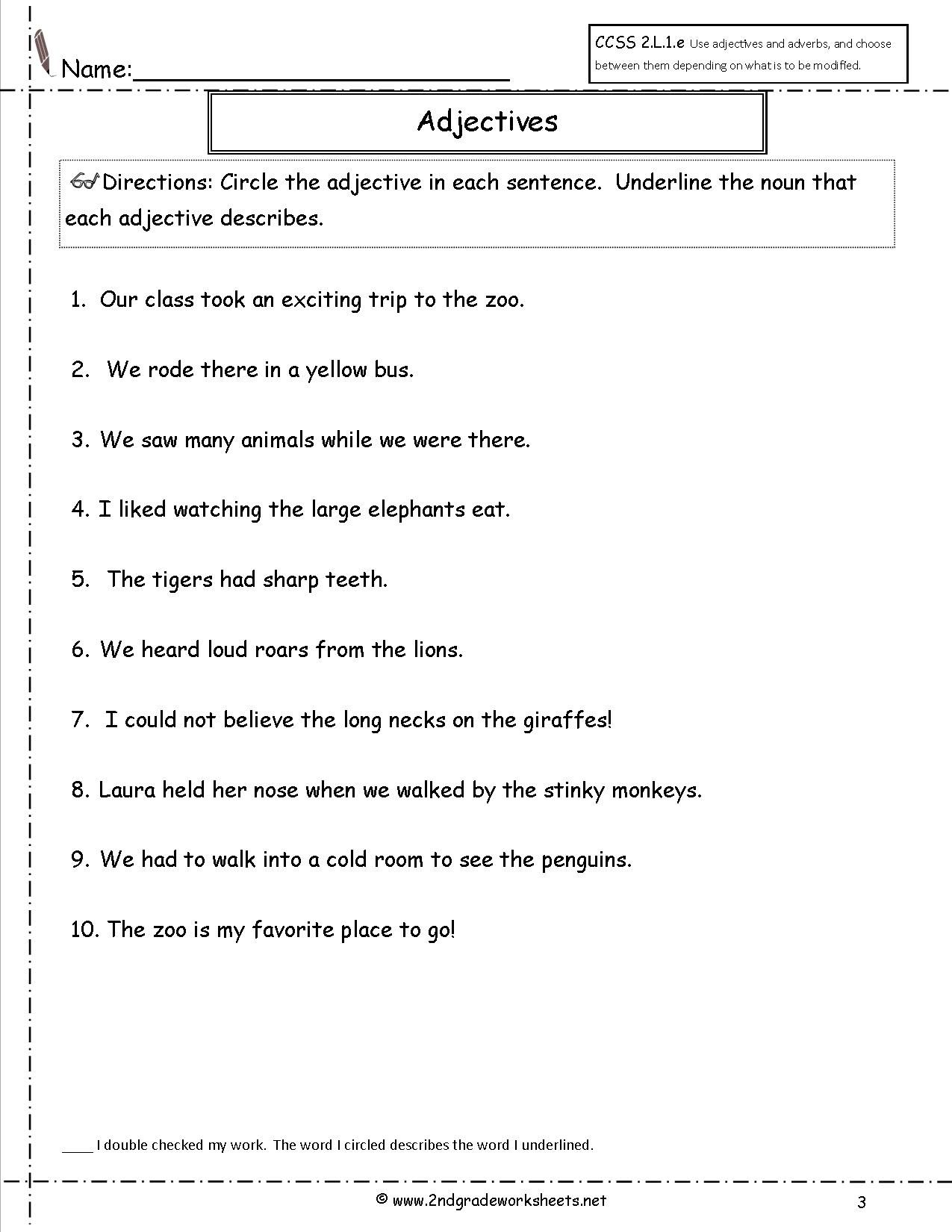 Free Using Adjectives and Adverbs Worksheets   Adjective worksheet [ 1650 x 1275 Pixel ]