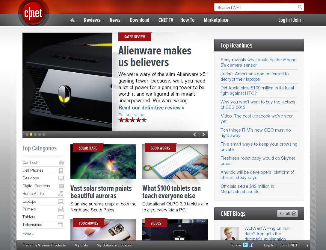 Cnet Has Some Really Compelling Features On Their Site Including A Very Useful User Bar Hugging The Bottom Of The Browser