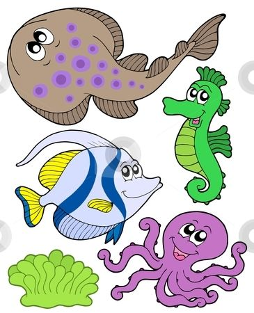 Free Nautical Graphics For Download Cute Marine Animals Collection 3 Stock Vector Clipart Cute Marin Marine Animals Sea Animals Drawings Cartoon Sea Animals