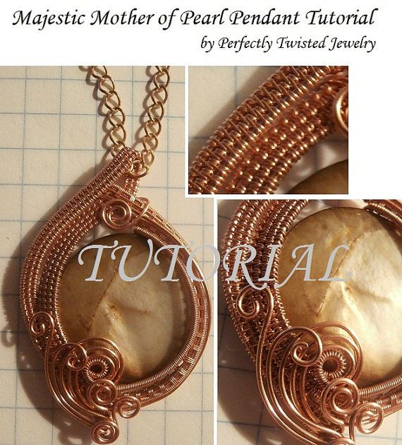 Wire wrapping tutorial wire wrapped pendant majestic mother of wire wrapping tutorial wire wrapped pendant majestic mother of pearl wire weaved jewelry pattern diy wire weave jewelry pendant project aloadofball Images