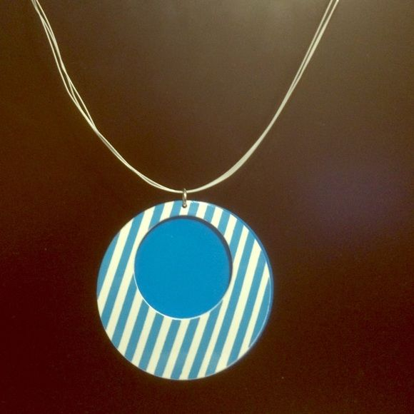 Blue Stripped Necklace   D, Plastic and Jewelry