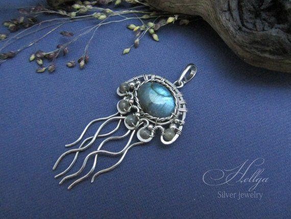 Photo of Medusa pendant,silver pendant, pendant with labradorite, wire wrap pendant, wire wrap jewelry, silver jewelry