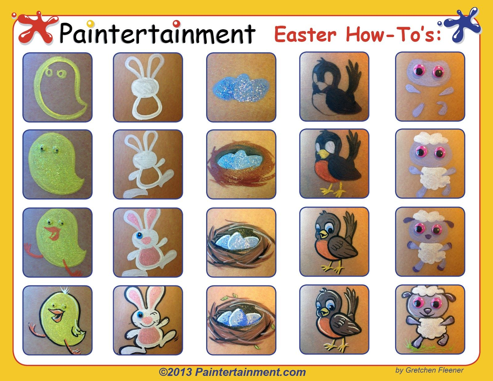 Uncategorized Simple Face Painting Templates paintertainment easter cheek art 11 free how tos face paint i had so much fun coming up with designs for my march e newsletter just to share all of these wi