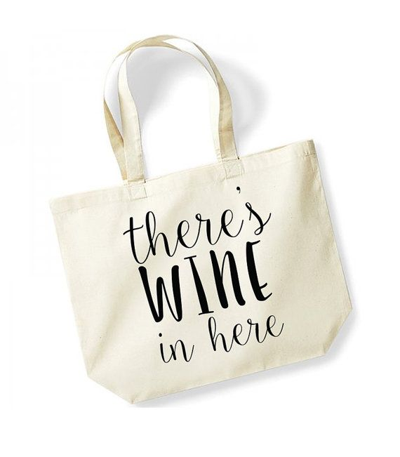 There S Wine In Here Large Tote Bag Canvas Fun Slogan Travel