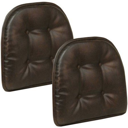 Gripper Non Slip 15 Inch X 16 Faux Leather Tufted Chair Cushions Set Of 2 Brown