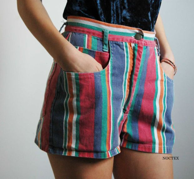 ad3e8d0ed56ef Vintage 90s Denim Color Stripes High Waisted Shorts by Noctex ...