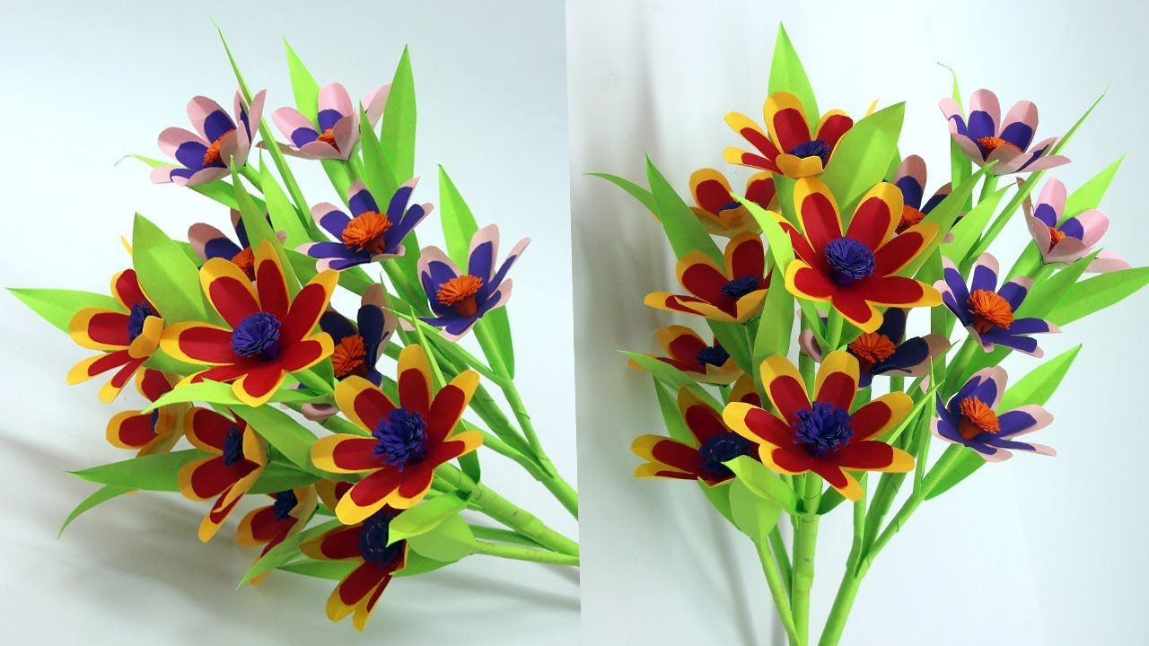 Easy Make Flower Stick With Paper / Easy Paper Flowers Make /Paper Flowe... #easypaperflowers
