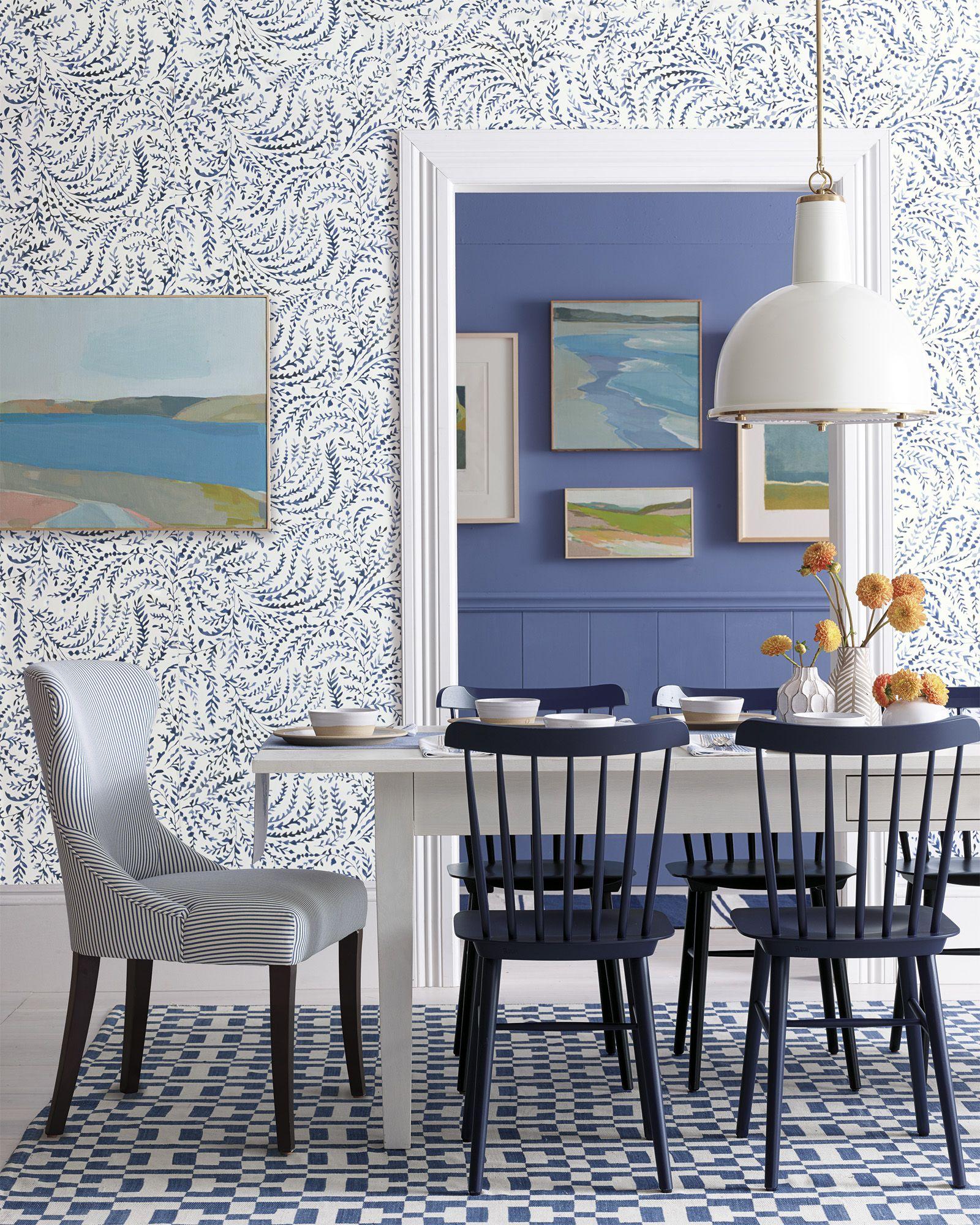 Serena Lily Priano Wallpaper Coastal Dining Rooms