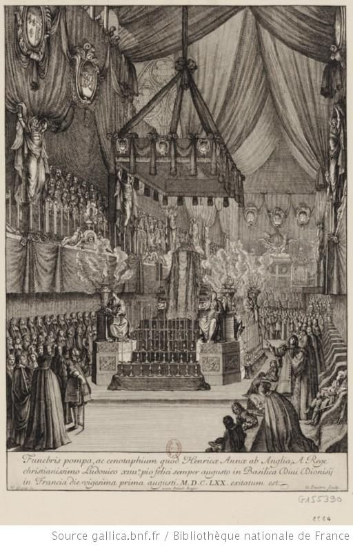 The funeral of Henriette-Anne (1644-1670), first wife of Monsieur: Catafalque d'Henriette d'Angleterre, duchesse d'Orléans, 1670 engraving, French school