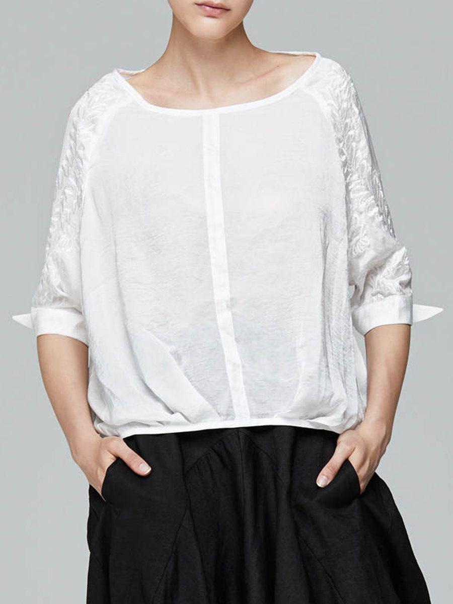 Adorewe stylewe blousesdesigner miting white simple solid