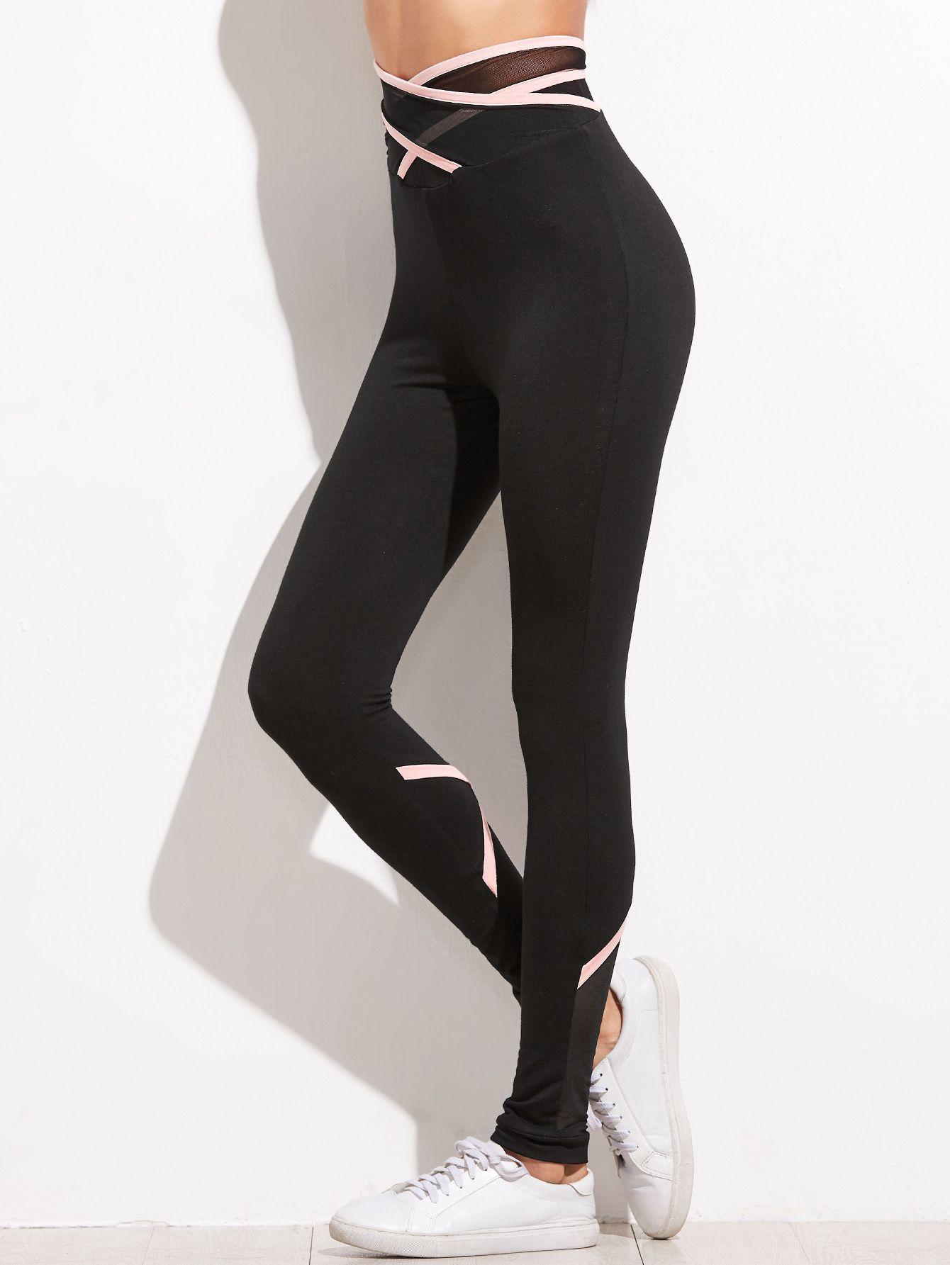 eb036ed55d44 Shop Black Crisscross Mesh Waist And Back Leggings online. SheIn offers  Black Crisscross Mesh Waist And Back Leggings & more to fit your  fashionable needs.