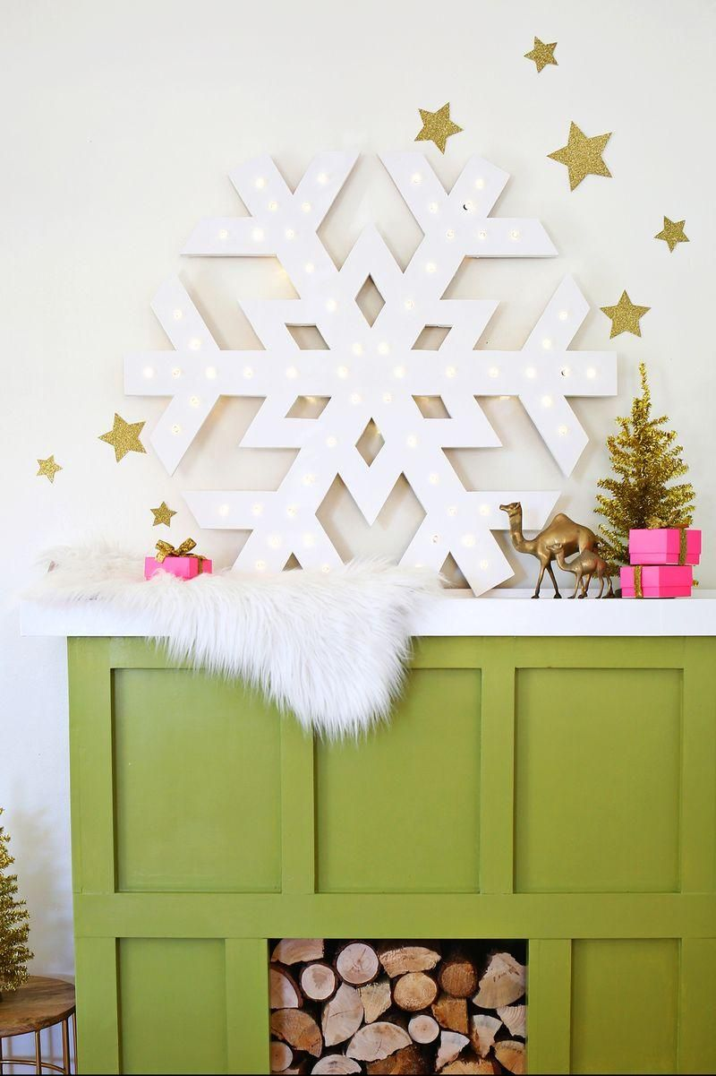 Have to make this! Giant snowflake marquee to add some holiday decor ...