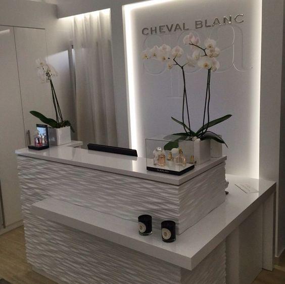 Revestimento balc o de recep o design salone di for Arredamento reception estetica