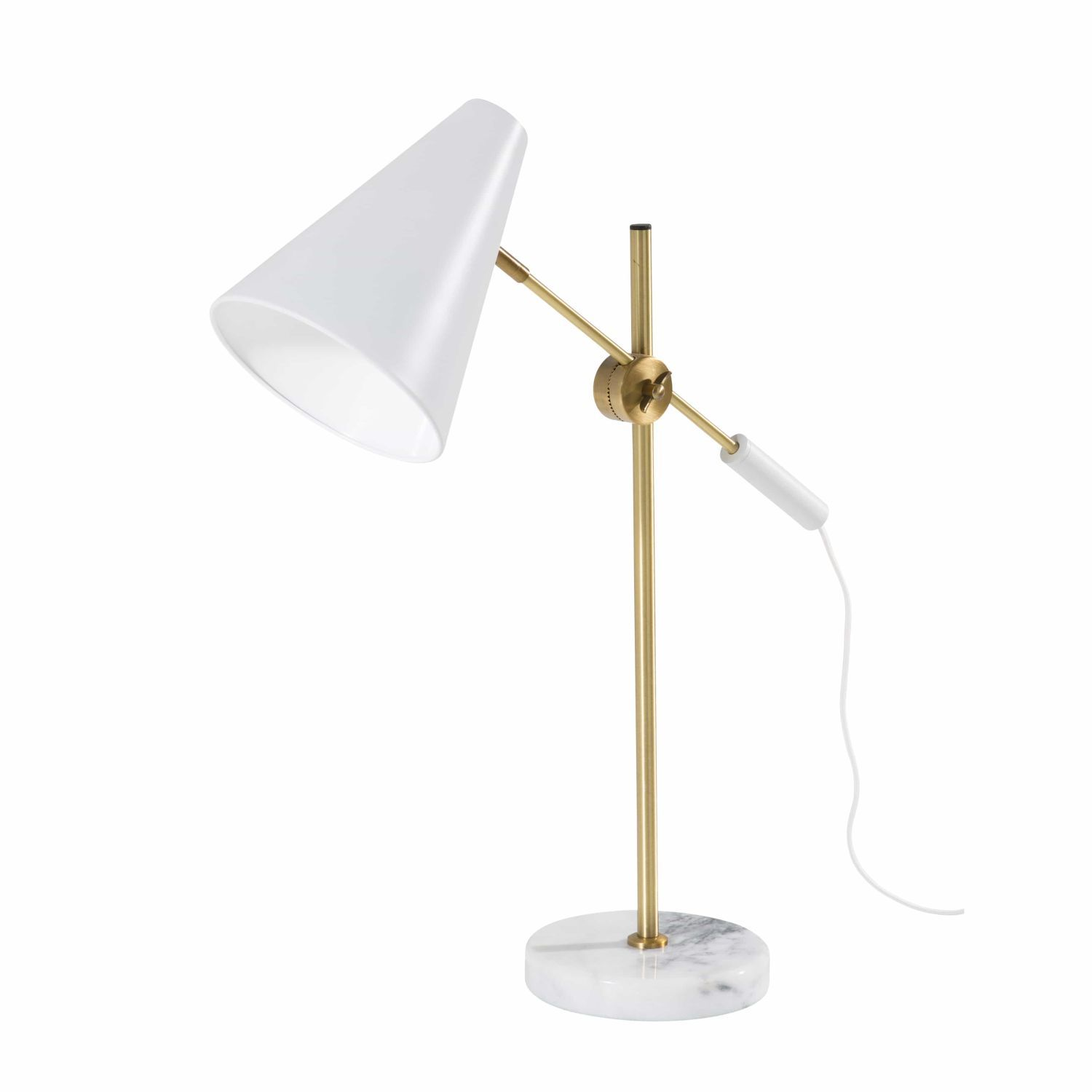 White Metal And Marble Adjustable Lamp On Maisons Du Monde Take Your Pick From Our Furniture And Accessories And Lampara De Escritorio Lámparas Mesas De Luz