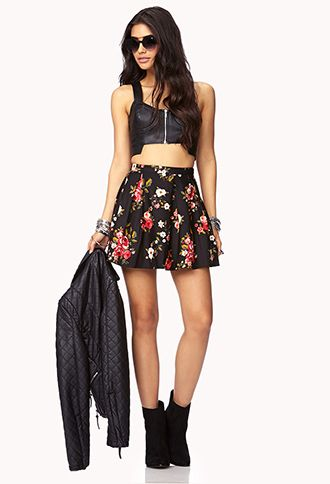 428fe8a73e Fancy Floral Box Pleated Skirt | FOREVER 21 - 2000111938 | Clothes ...