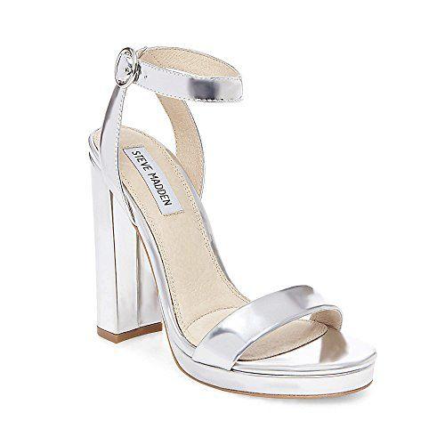 317bb6dce67 Steve Madden Women s Addon Silver Dress Open 6.5 US Steve- 89.95 Block Heel  Platform Sandals