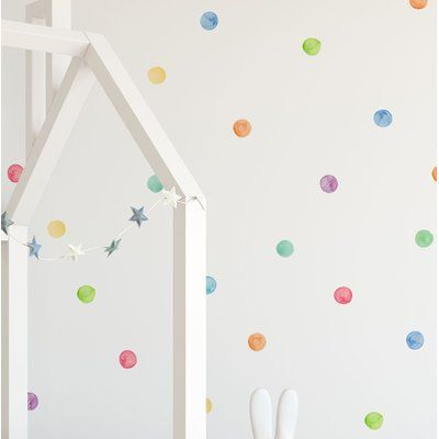 Mack Milo Barrowman Watercolor Dots Wall Decal Colour Red