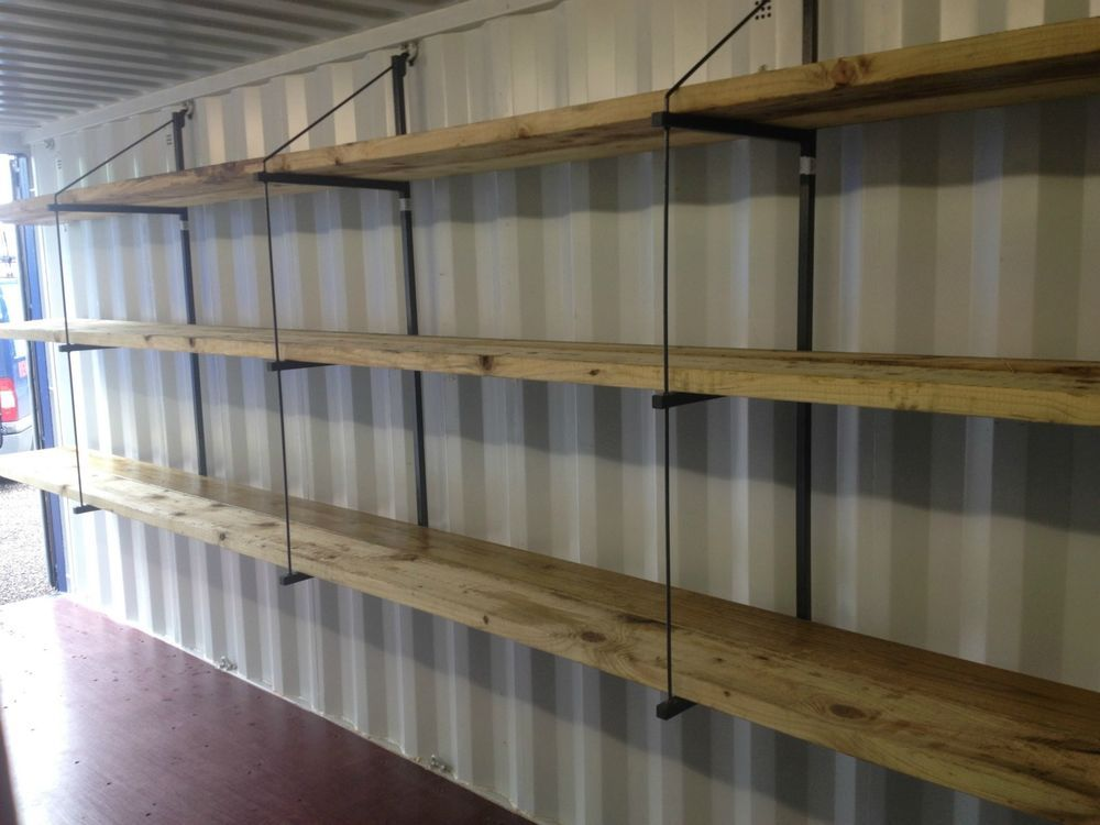 shipping container shelving system extra strong storage 3 tier 3 bracket set projects to. Black Bedroom Furniture Sets. Home Design Ideas
