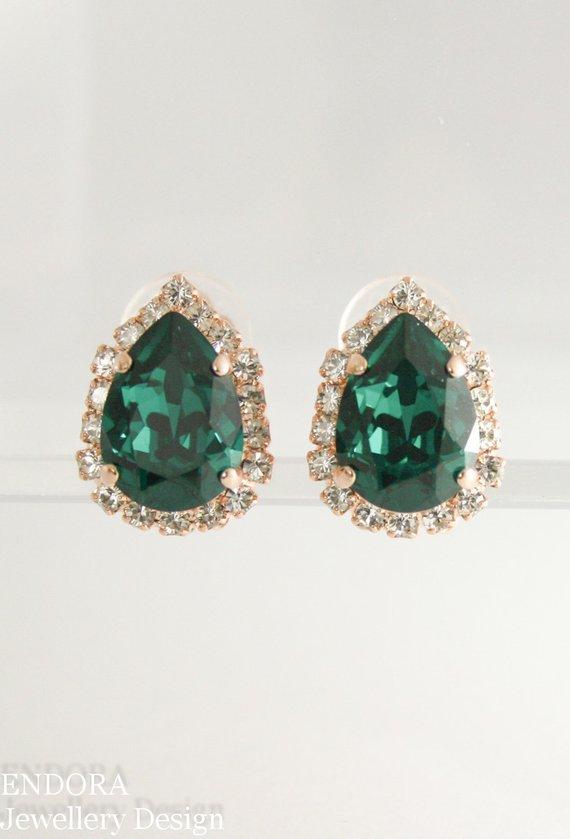 Emerald Clip On Earrings Wedding Bridal Earring