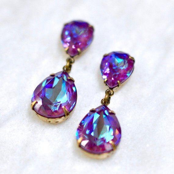 Burgundy Rainbow Earrings Swarovski Crystal Delite