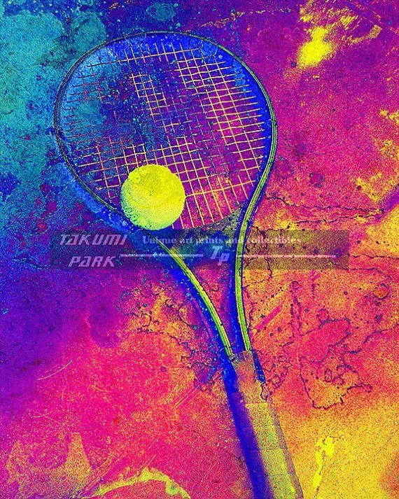 Tennis Racket And Ball Art Print Colorful Art Print Sports Art Print Gift For Tennis Fan Tennis Decor Home Decor Tennis Player Gift Sports Art Print Tennis Art Colorful Art