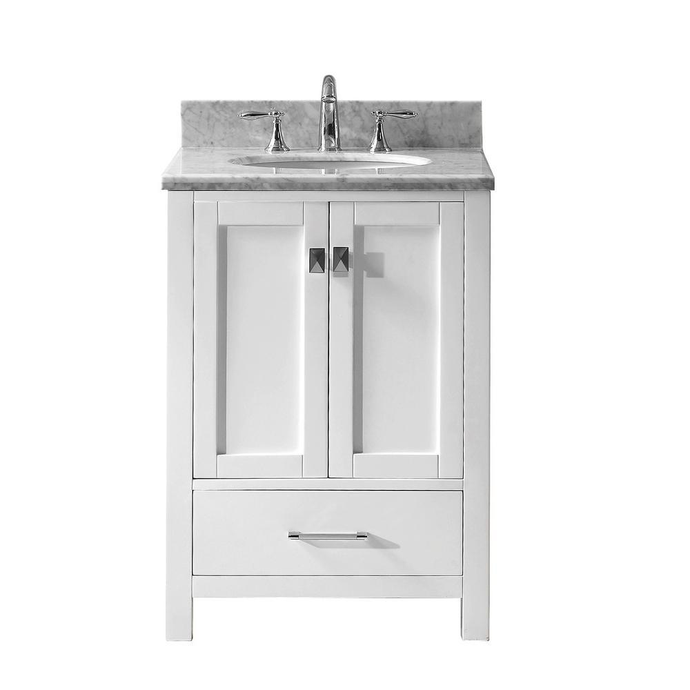 Virtu Usa Caroline Avenue 25 In W Bath Vanity In White With