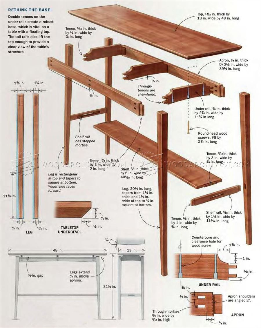 2953 Floating Top Table Plans Furniture