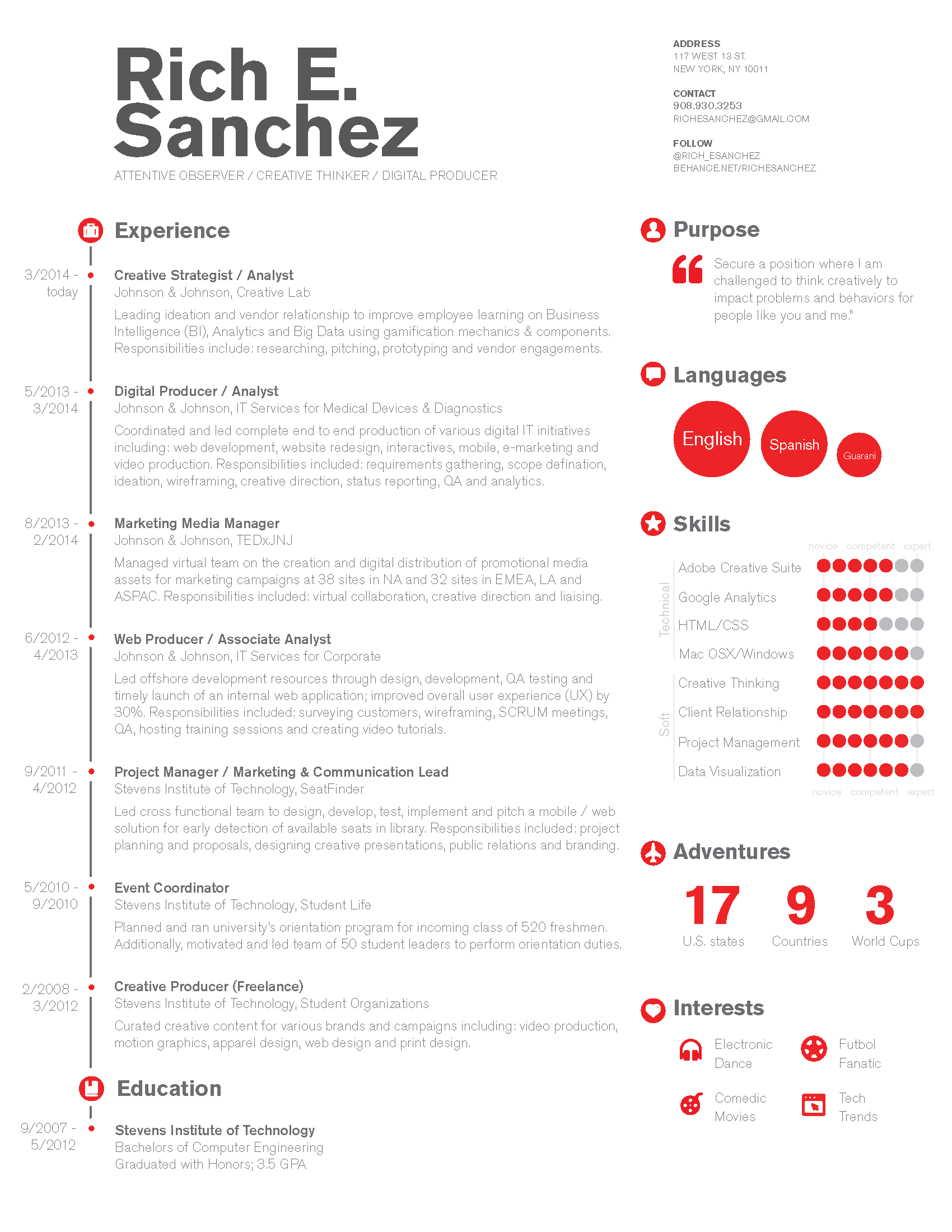 Simple U0026 Clean Infographic / Timeline Resume Design For Digital Marketing,  Project Management Or Technology