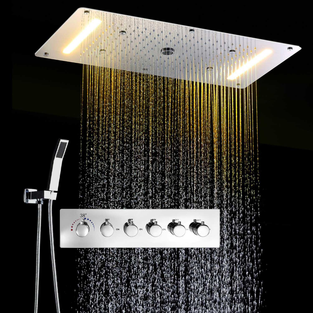 Chrome Concealed Thermostatic Shower Set Multi Function Shower Faucet System Warm White Led Shower Set Shower Faucet Faucet [ 1000 x 1000 Pixel ]