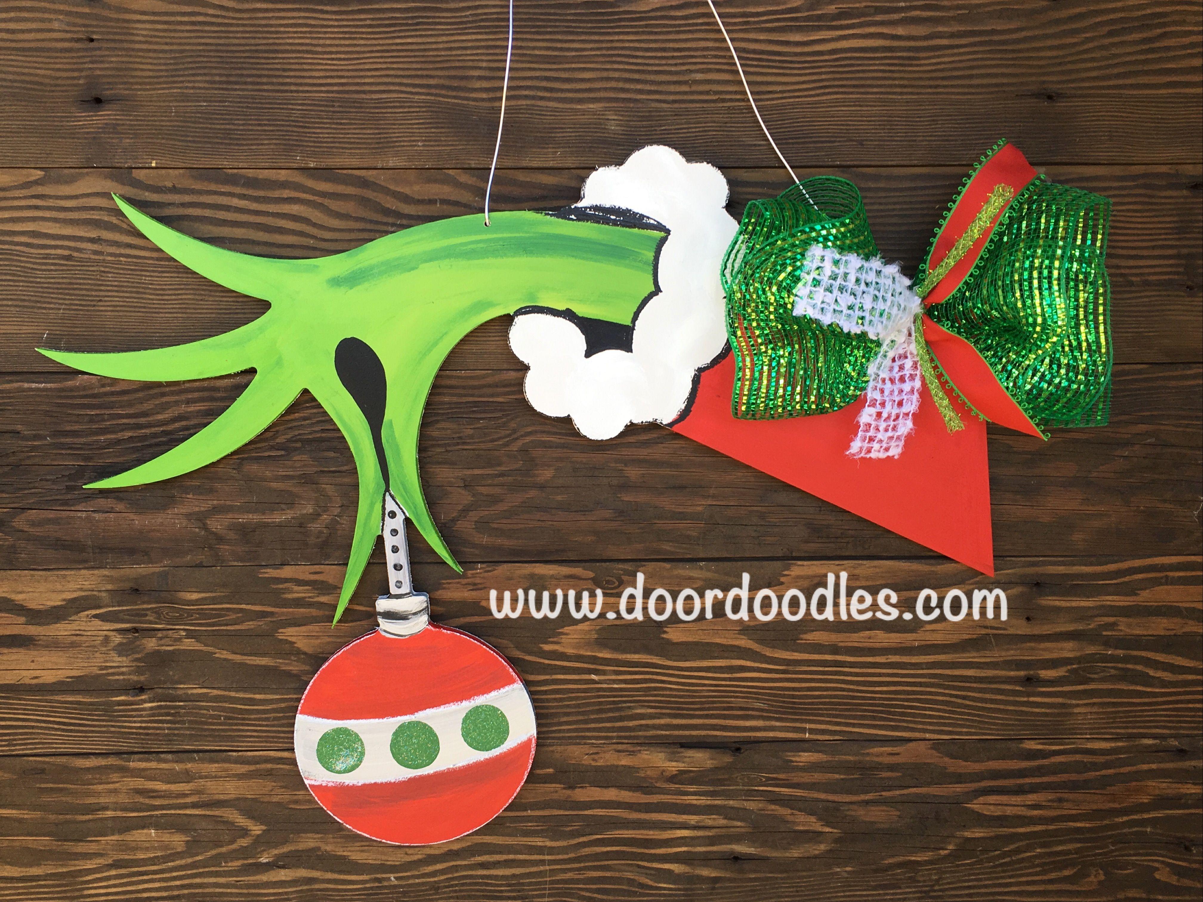 The Grinch Door Hanger Decoration Front Door Wreath Hang Ornament Wood Wooden Grinch Decorations Xmas Crafts Hanging Wreath