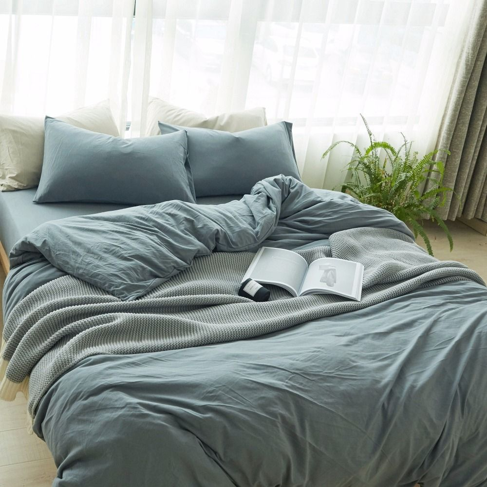 Grey Knitted Cotton Bedding Set Duvet Queen Cover Bed Cover Queen