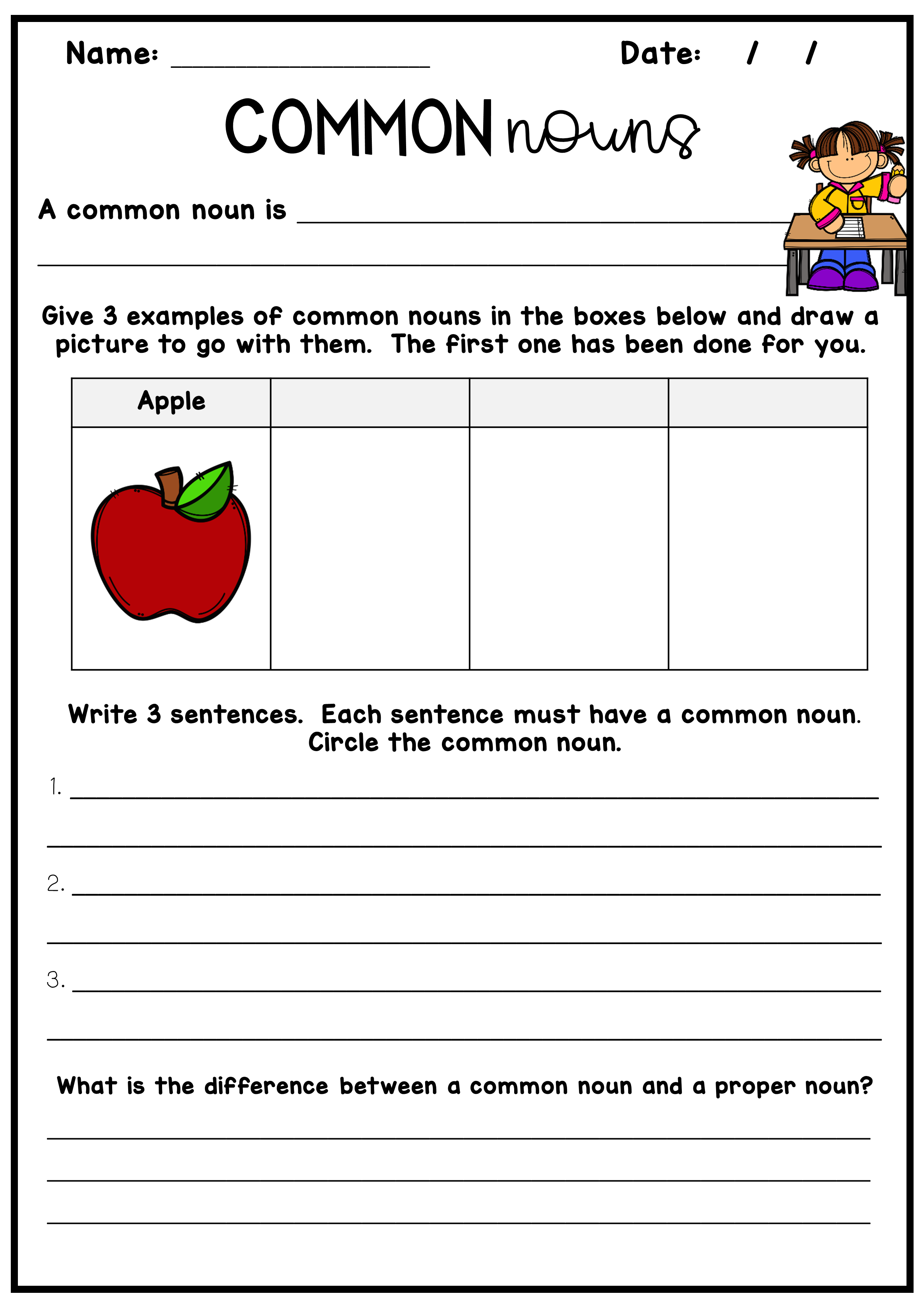 49+ Types of nouns worksheet For Free
