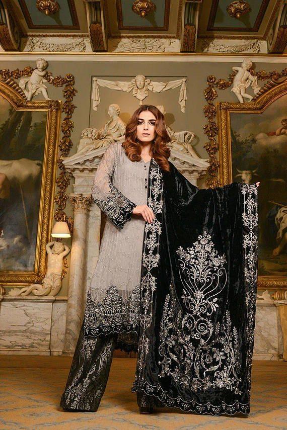 cba272f08c Maria B mbroidered wedding edition grey and black velvet | Dresses ...