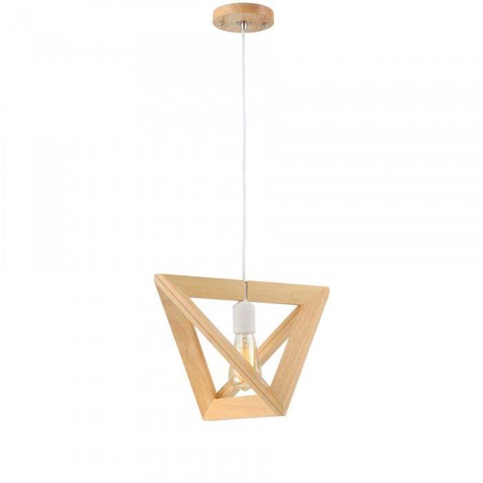 Lámpara de techo con marco triangular, realizada en madera de roble ...