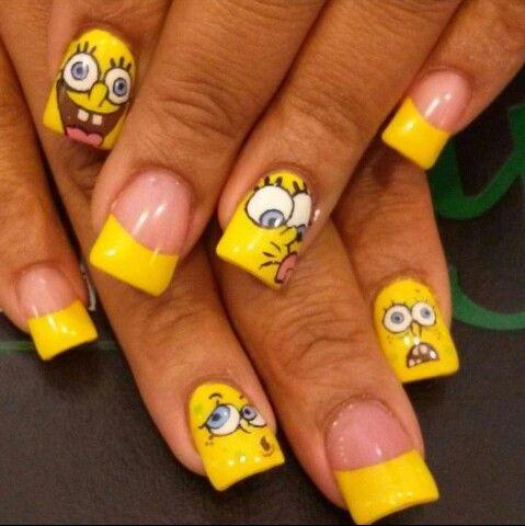Spongebob Nails I Wish I Could Have Spongebob Nails Nails Popular Nails