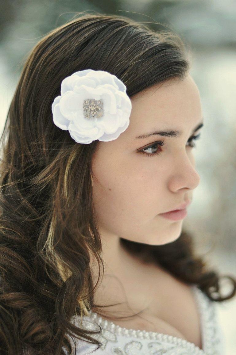 White Hair Flower Bridal Flower Clip Wedding By Sadiebloomdesigns