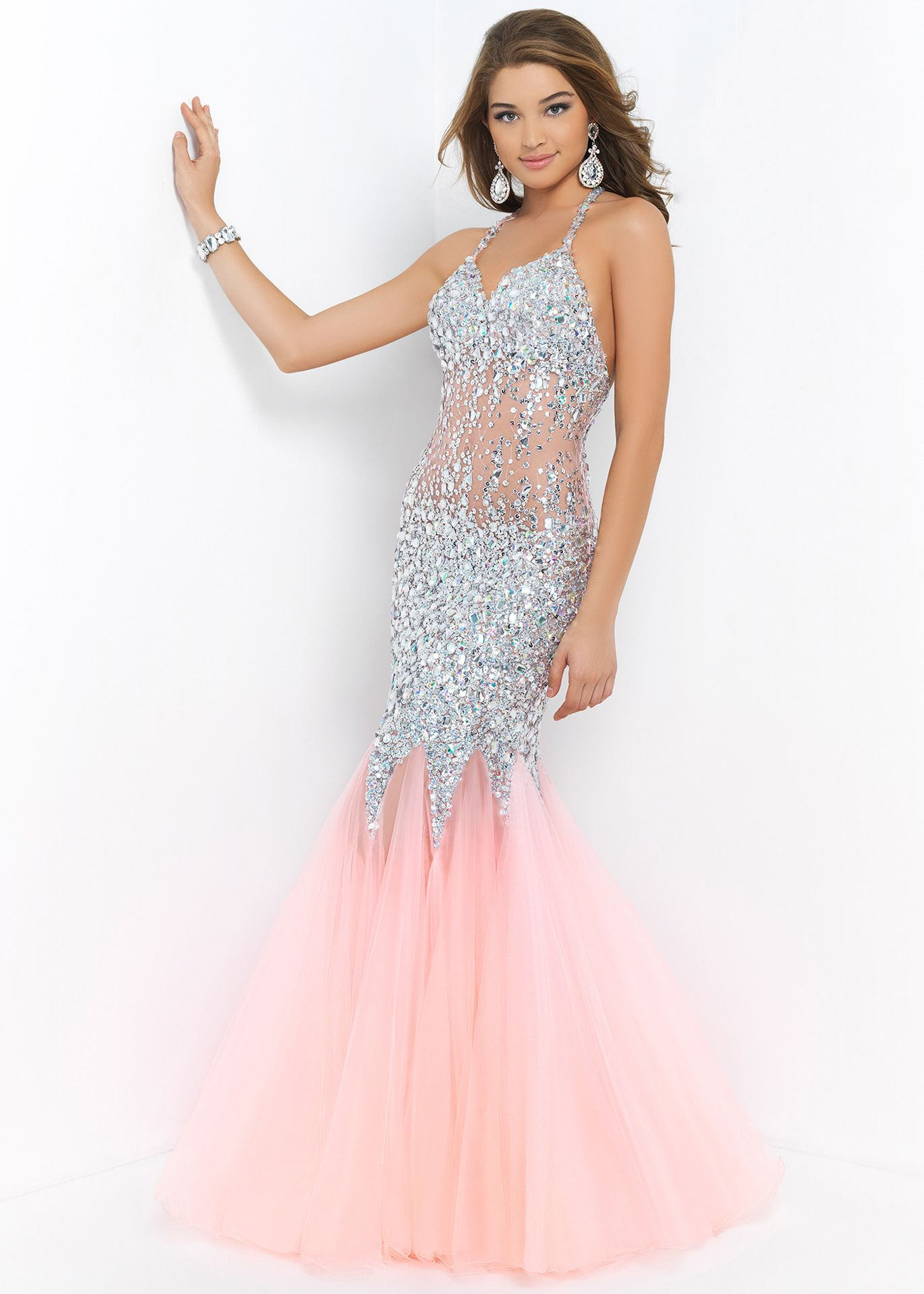 Sparkling coral and silver open back prom gown blush prom